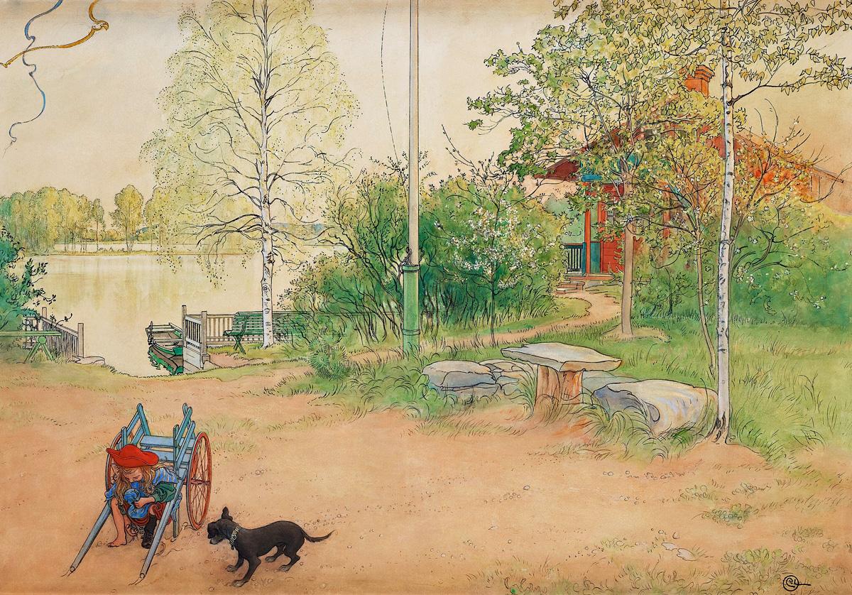 Vårafton. Akvarell 1900